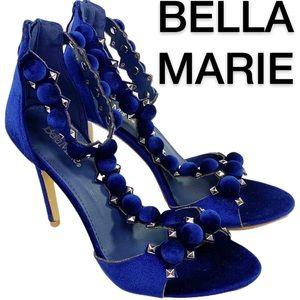 Bella Marie Shawna Blue Velvet T-Strap Heels (7.5)